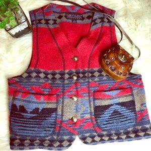 Festival Wear Aztec Wool Blend Vest Jacket Small